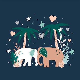 Clipart słodkie słonie z kwiatami