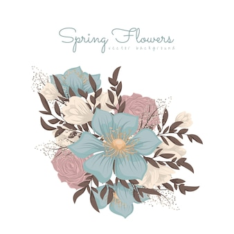 Clipart z różowymi i jasnoniebieskimi kwiatami