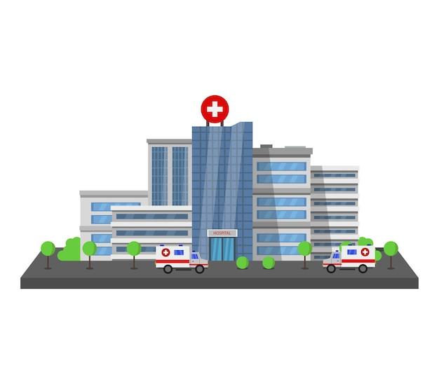 Clipartów budynku szpitala na białym tle
