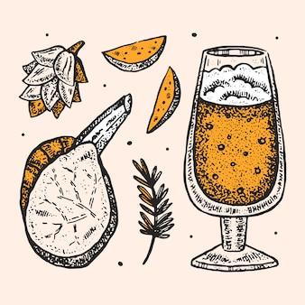 Clipartów oktoberfest, zestaw elementów. alkohol. szklanka piwa rzemieślniczego, przekąski, fast food. niemieckie tradycje, kuchnia narodowa. smażony ziemniak, stek, chmiel.
