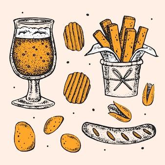 Clipartów oktoberfest, zestaw elementów. szklanka piwa, alkoholu, przekąski, fast food. kiełbasa niemiecka, smażony ziemniak, frytki, pistacje.
