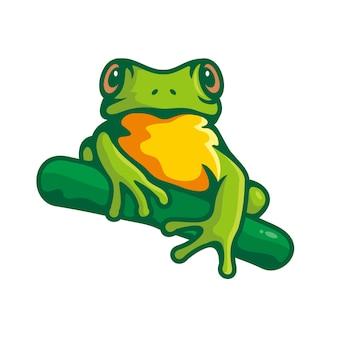 Clipartów zielona żaba na białym tle