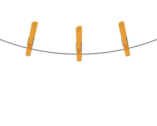 Clothespins na linowym wektorowym tle