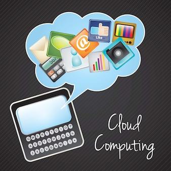 Cloud computing aplikacje smartphone na czarnym tle ilustracji wektorowych