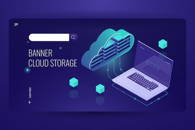 Cloud computing bazy danych, izometryczna ikona transferu danych z magazynu w chmurze, laptop