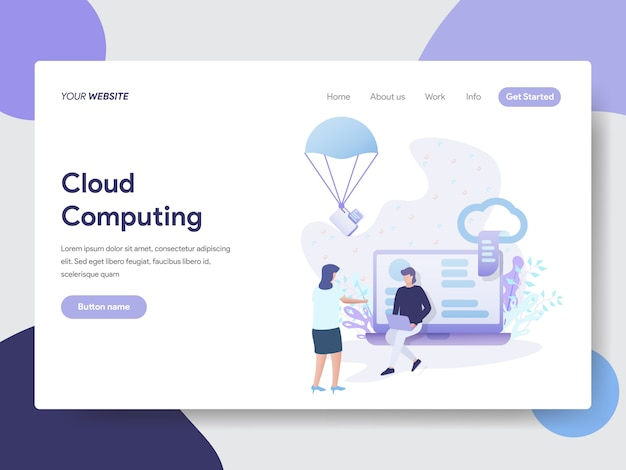 Cloud computing illustration for web pages