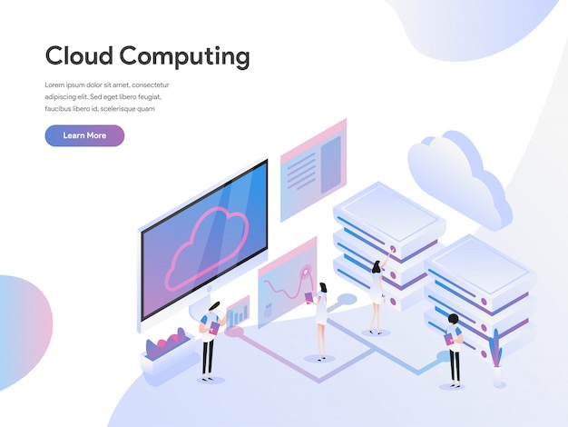 Cloud computing isometric illustration concept