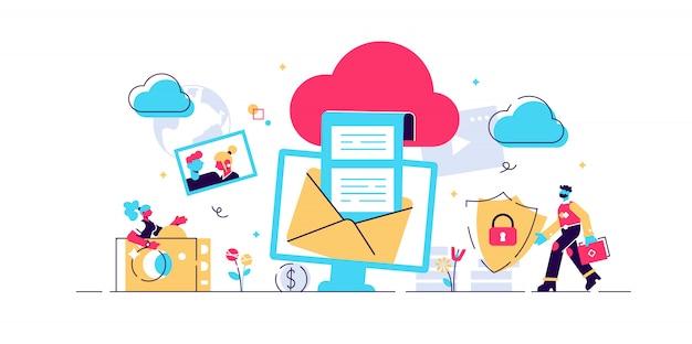 Cloud computing koncepcja strony internetowej, banera, prezentacji, mediów społecznościowych, dokumentów, kart, plakatów. urządzenia ilustracyjne podłączone do magazynu danych w chmurze, web technology