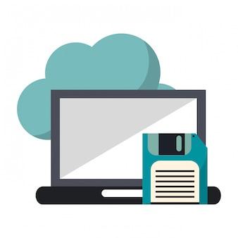 Cloud computing laptop i dyskietka