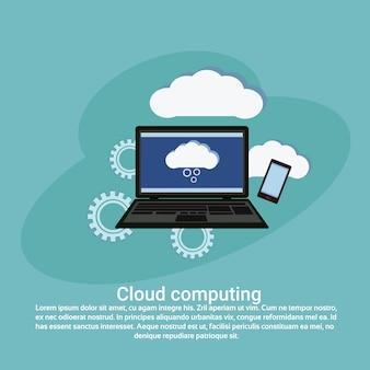 Cloud computing services przechowywanie danych szablon sieci web banner z miejsca na kopię