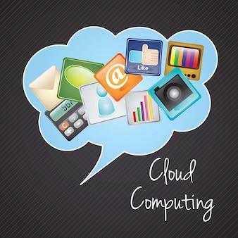 Cloud computing z ikonami aplikacji (kolorowe ikony) ilustracji wektorowych