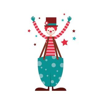 Clown cirucs z kapeluszem między gwiazdami. charakter retro