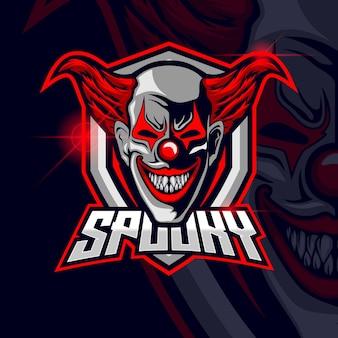 Clown esport logo szablon projekt ilustracja wektorowa