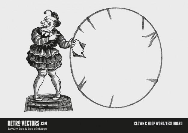 Clown i hoop słowo / tekst board