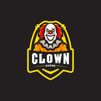 Clown maskotka logo gier esport ilustracja