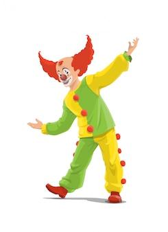 Clown, wielki klaun shapito cyrkowy w czerwonej peruce