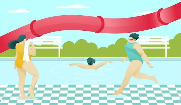 Clubby kobiety postacie odpoczywają w ośrodku z basenem