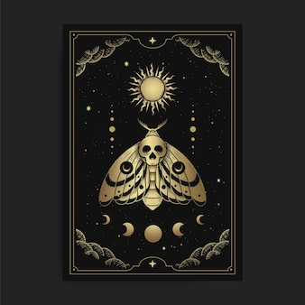 Ćma śmierci i ornament faz księżyca i słońca z grawerowaniem, ręcznie rysowanym, luksusowym, ezoterycznym, w stylu boho, nadające się do zjawisk paranormalnych, czytnika tarota, astrologa lub tatuażu