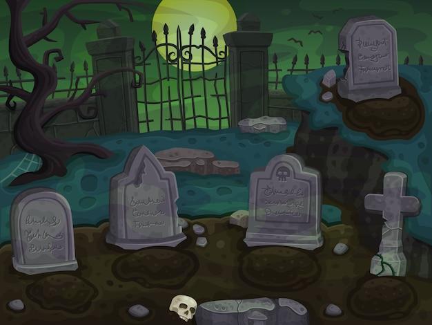Cmentarz kreskówka tło