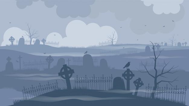 Cmentarz lub cmentarz w straszną noc ..