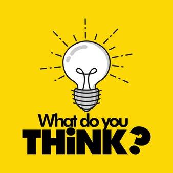 Co myślisz? ilustracja wektorowa żarówki