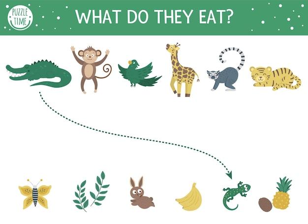 Co oni jedza. dopasowana zabawa dla dzieci ze zwierzętami tropikalnymi i jedzeniem, które jedzą. śmieszne puzzle dżungli. arkusz z quizem logicznym.
