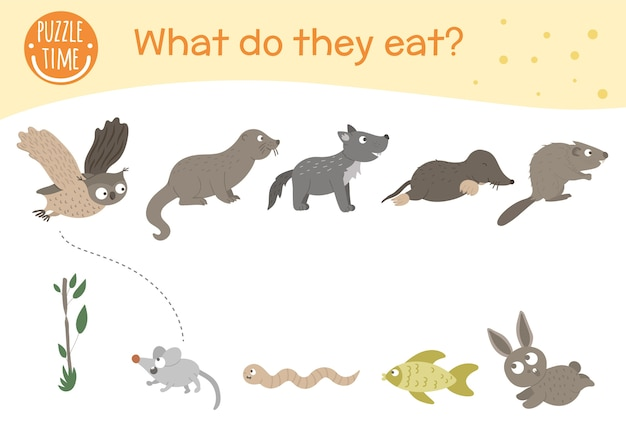 Co oni jedza. dopasowane zajęcia dla dzieci ze zwierzętami i jedzeniem, które jedzą.