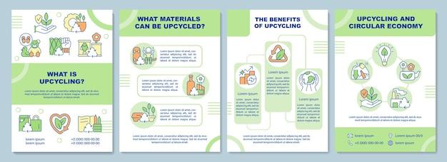 Co to jest szablon broszury upcyklingowej. recykling odpadów. ulotka, broszura, druk ulotek, projekt okładki z liniowymi ikonami. układy wektorowe do prezentacji, raportów rocznych, stron ogłoszeniowych