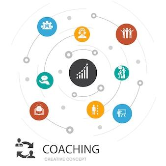 Coaching koncepcja kolorowe koło z prostych ikon. zawiera takie elementy jak wsparcie, mentor, umiejętności, szkolenia