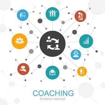 Coaching modny koncepcja sieci web z ikonami. zawiera takie ikony jak wsparcie, mentor, umiejętności, szkolenie