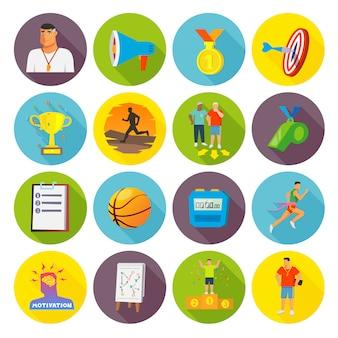 Coaching sportowe ikony płaskie