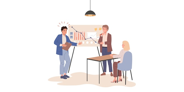 Coaching zarządzania biznesem, kursy programowania, wsparcie techniczne, edukacja online. warsztaty menadżerskie, warsztaty kodowania. ilustracje wektorowe