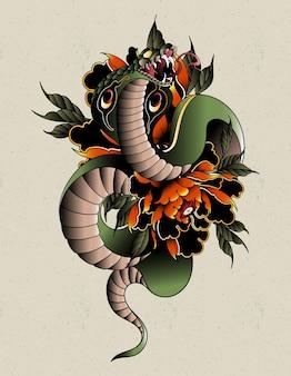 Cobra neo tradycyjny tatuaż