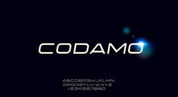 Codamo, zaawansowana technologicznie i futurystyczna czcionka, nowoczesny krój pisma scifi. alfabet
