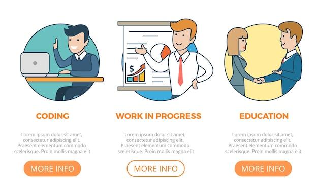 Coding work team edukacja biznesowa koncepcja monochromatyczna aplikacja