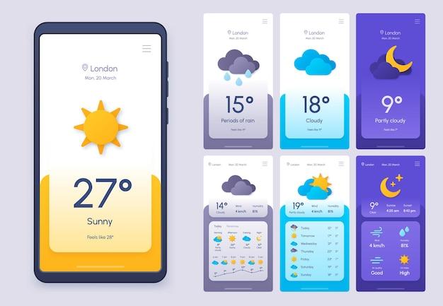 Codzienna aplikacja na telefon z prognozą pogody w stylu 3d cięcia papieru. szablon widgetu klimatu i atmosfery na smartfona. meteo warunek ui wektor zestaw. interfejs aplikacji z deszczem, słońcem i chmurami