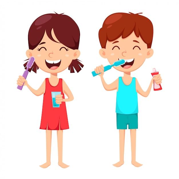 Codzienna higiena jamy ustnej. chłopiec i dziewczynka mycia zębów