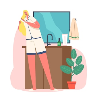 Codzienna rutyna, koncepcja porannej higieny. młoda urocza kobieta stoi przed lustrem w łazience grzebień długie włosy z pędzlem po kąpieli lub prysznicu. ilustracja kreskówka wektor