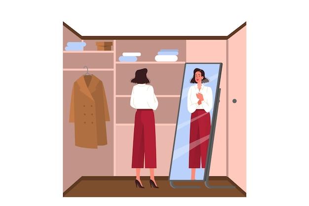 Codzienna rutyna młodej kobiety. kobieta ubrana w szafę, aby iść do pracy. postać kobieca zakładająca bluzkę. ilustracja