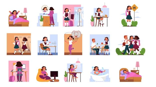 Codzienna rutyna zestawu małej dziewczynki. budząc się, jedząc rano śniadanie, idź do szkoły i śpij. harmonogram uczennic. spotkania z przyjaciółmi i odrabianie lekcji. ilustracja