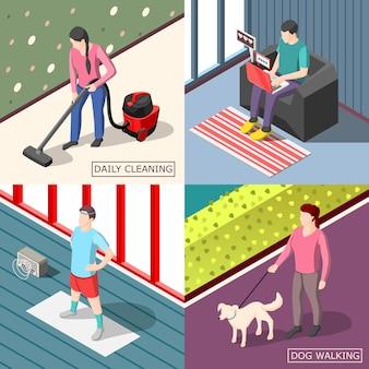 Codzienna rutynowa koncepcja projektowania izometrycznego 2x2 zestaw zwykłych ludzi chodzących z psem sprzątającym, wykonujących poranne ćwiczenia