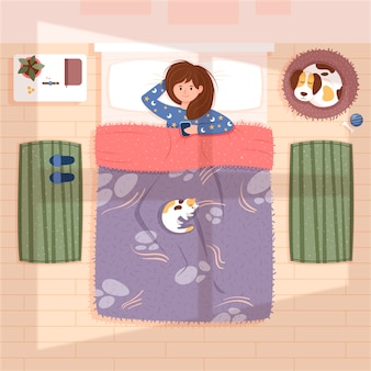 Codzienne sceny z kobietą w łóżku