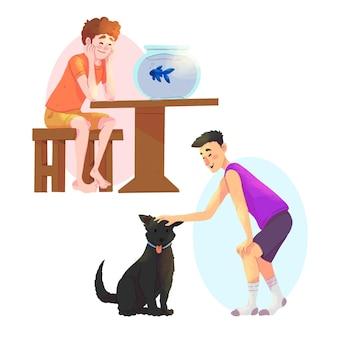 Codzienne sceny z koncepcją zwierząt domowych