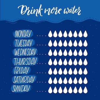 Codzienny licznik wody z listą kontrolną zasad ośmiu szklanek strona planowania zdrowy nawyk cel co tydzień