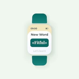 Codzienny szablon wektor interfejsu smartwatch słowo. projekt trybu nocnego powiadomień aplikacji mobilnej. ekran wiadomości edukacyjnej. płaski interfejs użytkownika do aplikacji. e-nauka i wiedza. wyświetlacz inteligentnego zegarka