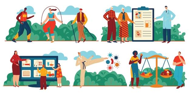 Codzienny zestaw ilustracji opieki zdrowotnej, kreskówek ludzi robi ćwiczenia sportowe, zdrowe jedzenie, codzienny system opieki zdrowotnej