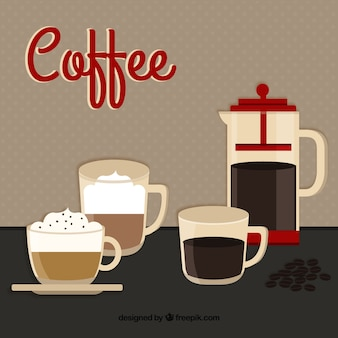 Coffe filiżanki i dzbanek kawy