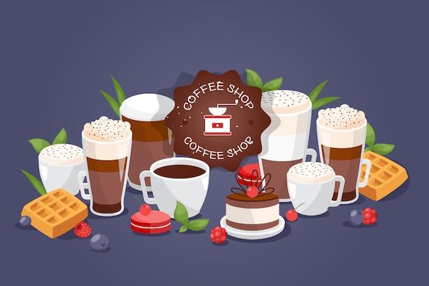 Coffe robi zakupy dużego asortymentu różnych napoje, ilustracja. logo kawiarni, filiżanki i szklanki z kawowym espresso, kubek