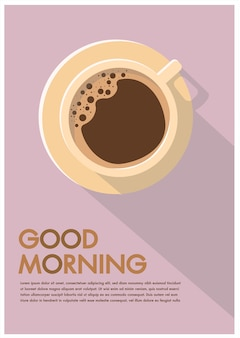 Coffee cup poster flat reklama good morning hipster flayers