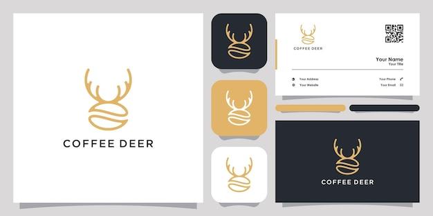 Coffee horn deer logo ikona symbol szablon logo i wizytówka